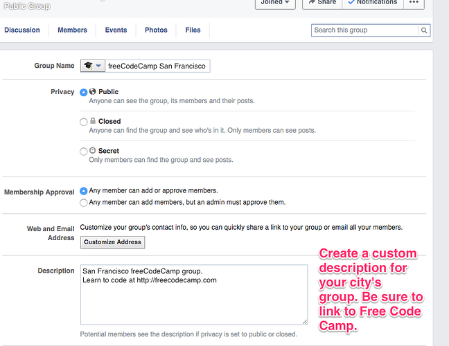 A screen shot showing you the group description box on the Facebook page.