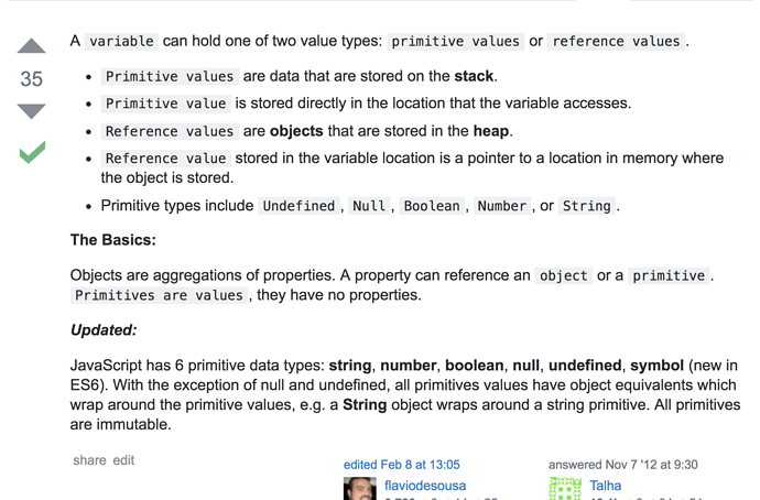 primitive value vs reference value