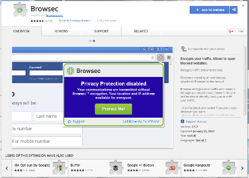 Image for 'Browsec on Google Chrome WebStore'
