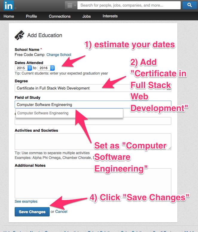 Add Free Code Camp in Linkedin | freeCodeCamp Guide