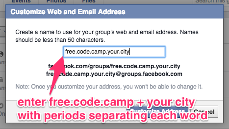 a screenshot telling you to enter freecodecamp.yourcity with each word separated by periods.