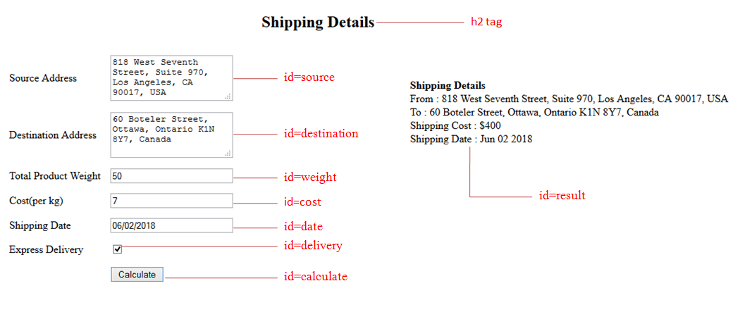 Please help on printing shipping details as per the form