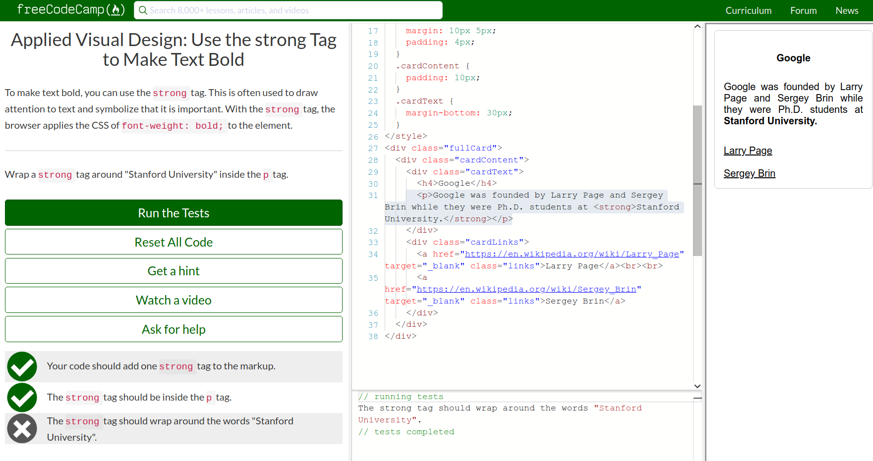 Use the strong Tag to Make Text Bold Does not work - HTML