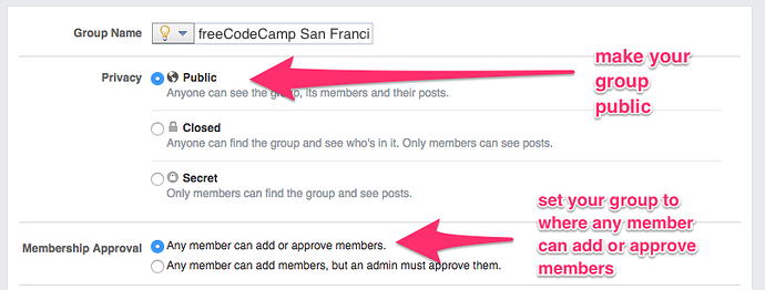 a screenshot showing the Facebook settings panel and where you can click to set the group to public and allow all members to be able to add or approve members