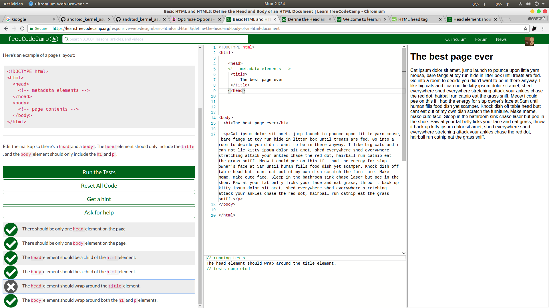 basic html and html5 define the head and body of an html document
