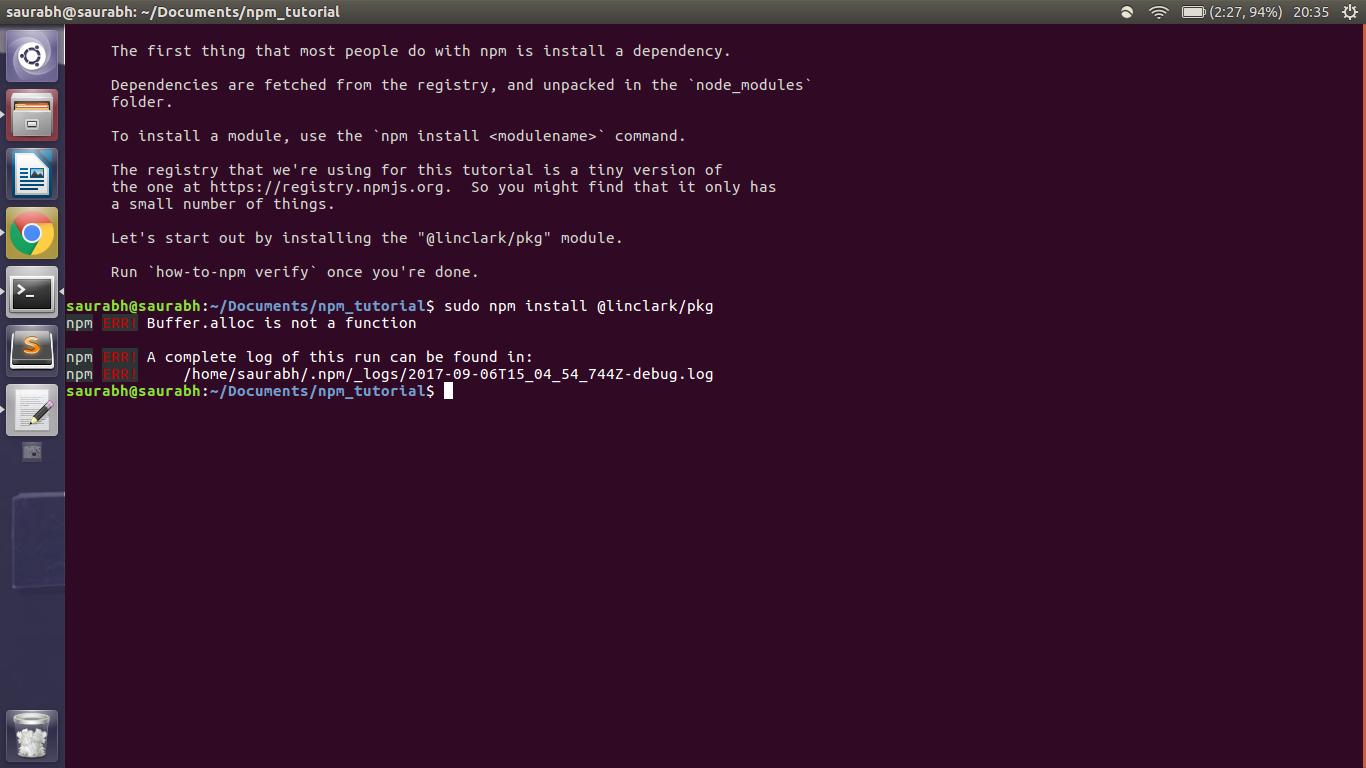 Error in npm module installation - JavaScript - The