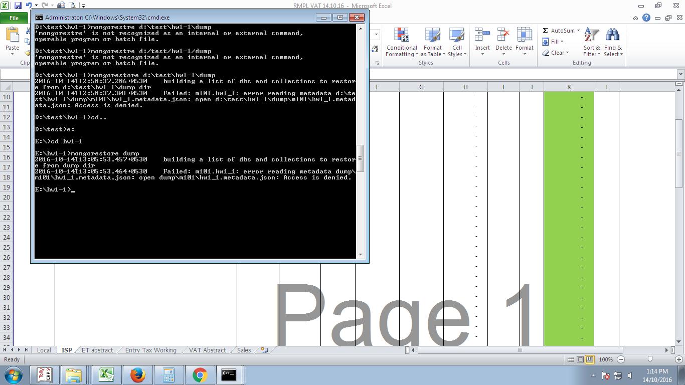 M101JS] Access denied error while restoring mongodb database