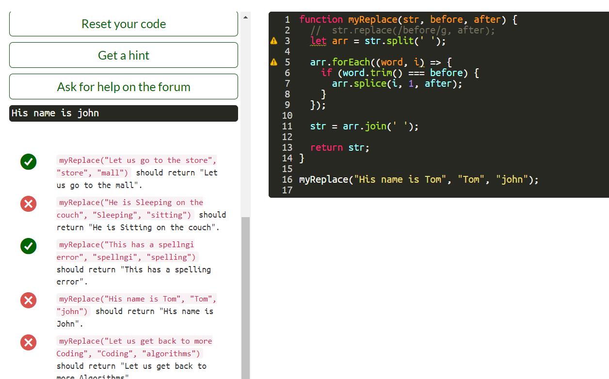 Search and Replace (Intermediate Algorithm Scripting) - JavaScript