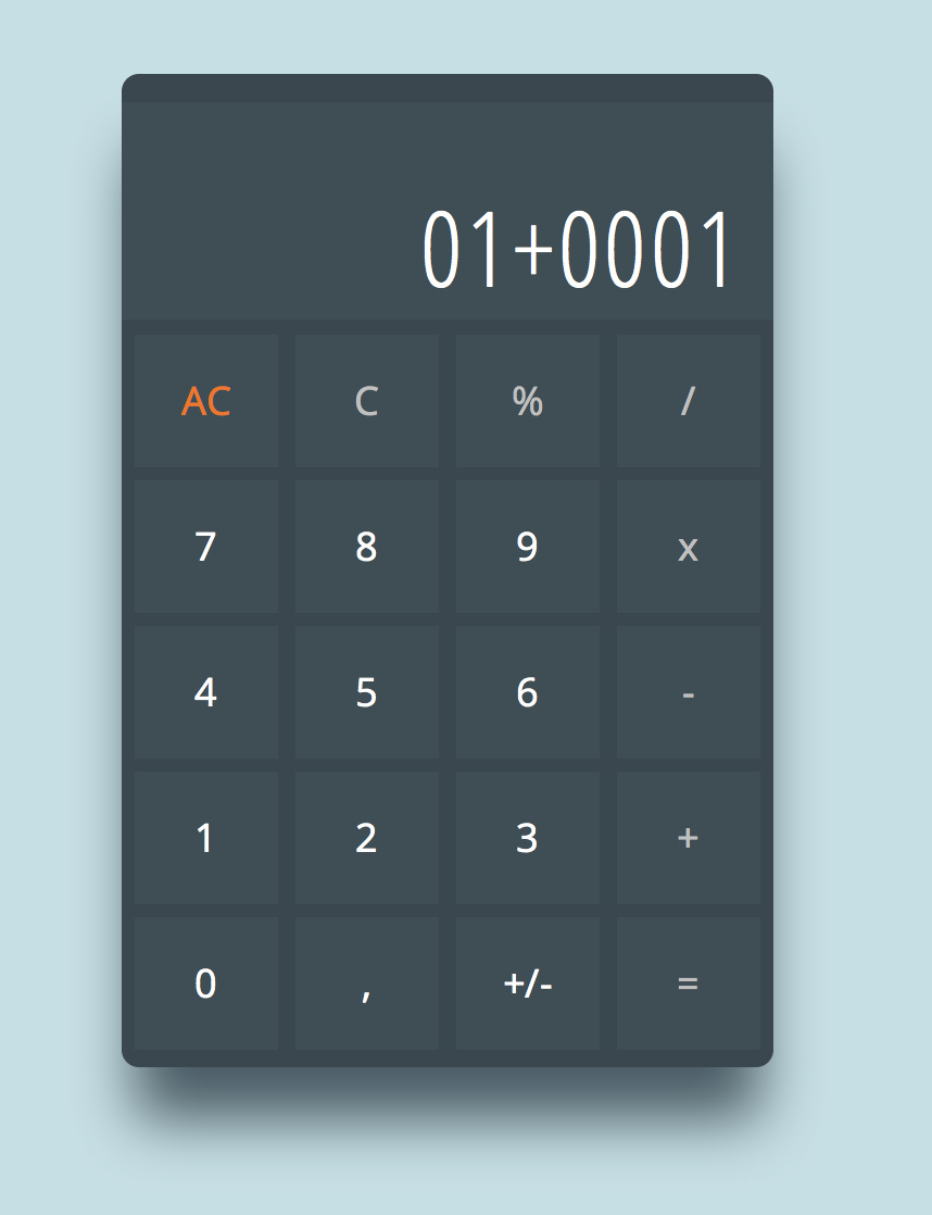 javascript calculator zero digits decimal negative numbers