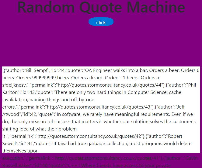 Trouble with random quote machine project - The freeCodeCamp